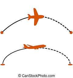 Plane route - Concept illustration showing a plane following...