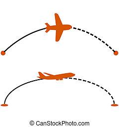 Plane route - Concept illustration showing a plane following...