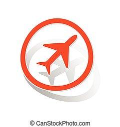 Plane sign sticker, orange