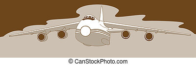 plane silhouette on brown  background, vector illustration