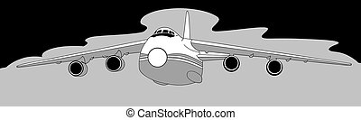 plane silhouette on gray  background, vector illustration