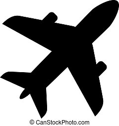 Plane silhouette vector icon isolated on white background