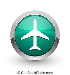 Plane silver metallic chrome web design green round internet icon with shadow on white background.