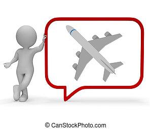 Plane Speech Bubble Shows Explain Transportation 3d Rendering