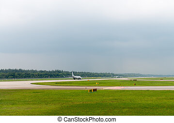Plane speed up on airport runway