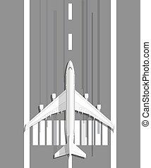 plane standing on landing strip - white civil aviation...