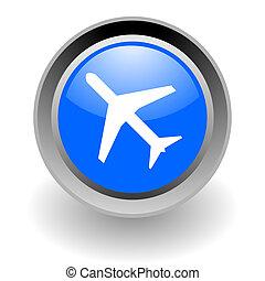 plane steel glosssy icon
