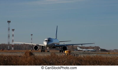Plane - Chelyabinsk, Russia. Airplane taking off the airport...
