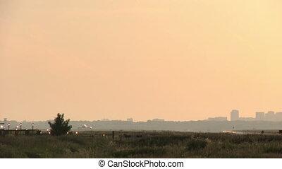 plane sunset landing