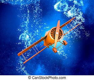 Plane symbol under water