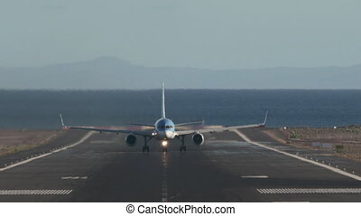 Plane take-off from the island