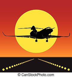 plane takeoff in silhouette 0100 - The plane was on the...