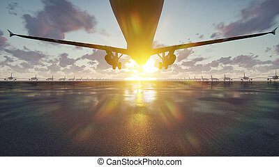 Plane takes off at sunrise or sunset background in slow...