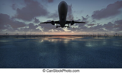 Plane takes off at sunset background in slow motion. 3D...
