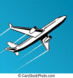 Plane takes off pop art vector illustration