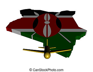 Plane taking off from Kenya map flag illustration