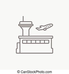Plane taking off line icon.
