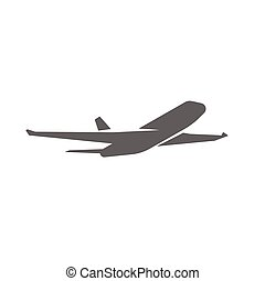 Plane taking off silhouette vector illustration