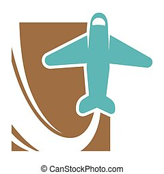 Plane that flies up and leaves trace promo emblem for travel...