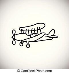 Plane thin line on white background