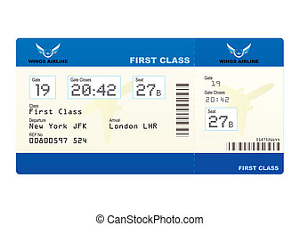 plane ticket - First class boarding pass or plane ticket...