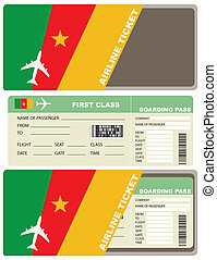 Plane ticket first class in Cameroon. Vector illustration.