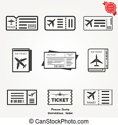 Plane ticket icons