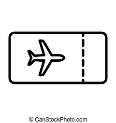 Plane Ticket Line Icon. Vector Simple Minimal 96x96 Pictogram