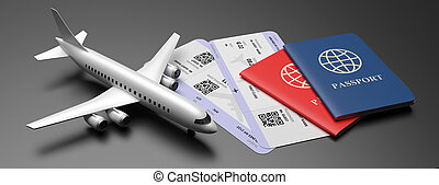 Plane tickets and passports on black color background. 3d illustration