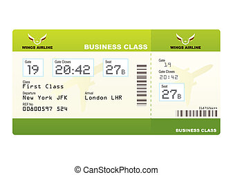 plane tickets business class green boarding pass and gate...