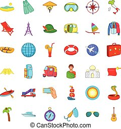 Plane travel icons set, cartoon style