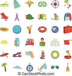 Plane travel icons set, cartoon style