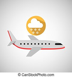 plane travel. weather forecast cloud snow icon