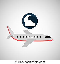 plane travel. weather forecast moon cloud icon