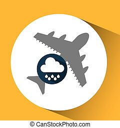 plane travel. weather forecast rain icon