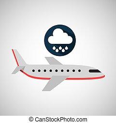 plane travel. weather forecast rain icon