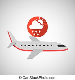plane travel. weather forecast rain sun icon