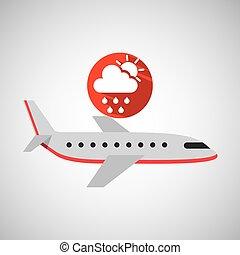 plane travel. weather forecast rain sun icon