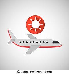plane travel. weather forecast sun icon