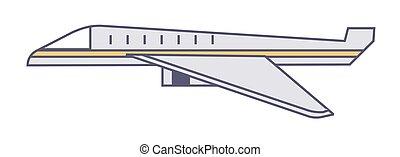 Plane traveling or delivering cargo, logistics services vector