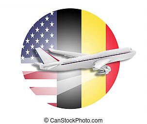 Plane on the background flags of the United States and Belgium.