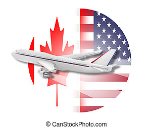 Plane, United States and Canada flags. - Plane on the...