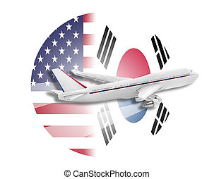 Plane, United States and South Korea flags.