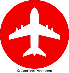 Plane vector icon - Plane round vector icon