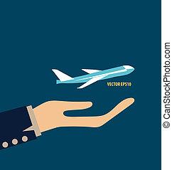 plane., vektor, illustration., halten hände