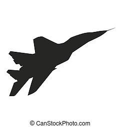 plane., vettore, silhouette, jet