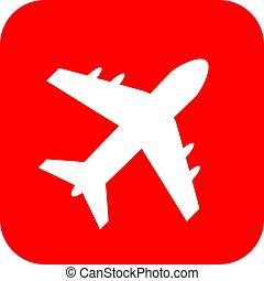 Plane web button - Plane red web button