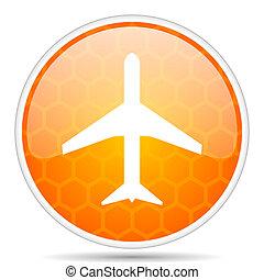 Plane web icon. Round orange glossy internet button for webdesign.