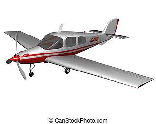 Plane - White-red plane on white background. 3d render.