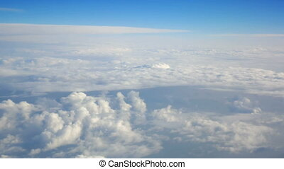 Plane window fly clouds